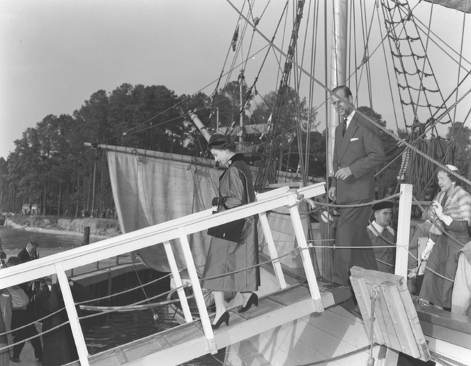 Queen Elizabeth and Prince Phillip aboard one of the Jamestown ships in Virginia.