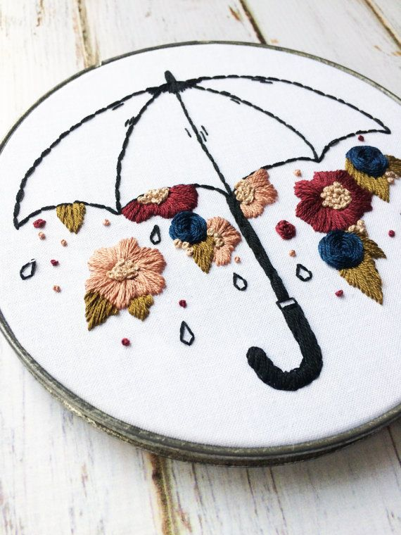 Floral Embroidery Hoop art Umbrella Wall Hanging Hand Embroidery ...
