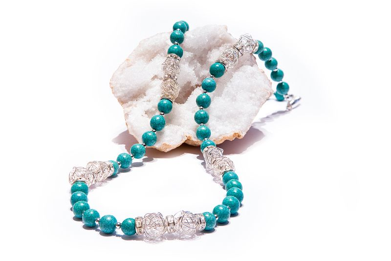 Türkis mit Drahtperlen von Himawarii Jewelry Art auf DaWanda.com
