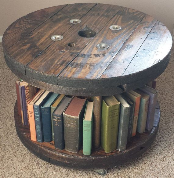 Reclaimed Wood Cable Spool Coffee Table on Casters w/ Book Shelf Storage