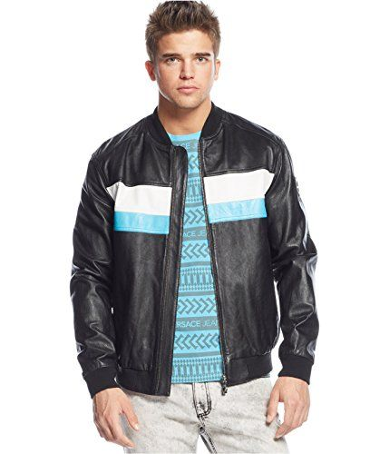 VERSACE Versace Jeans Men'S Colorblocked Leather Bomber Jacket ...