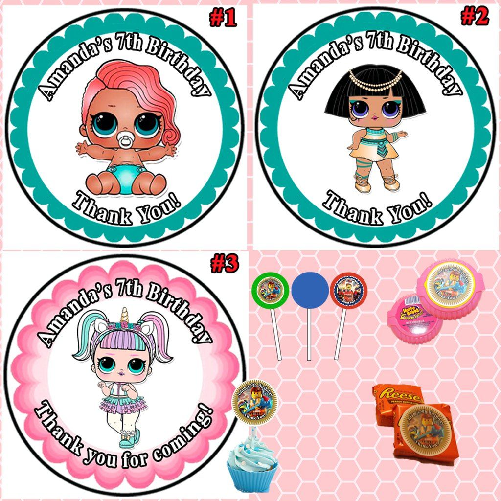 Lol surprise doll birthday round stickers printed 1 sheet cup cake toppers favor stickers personalized custom made
