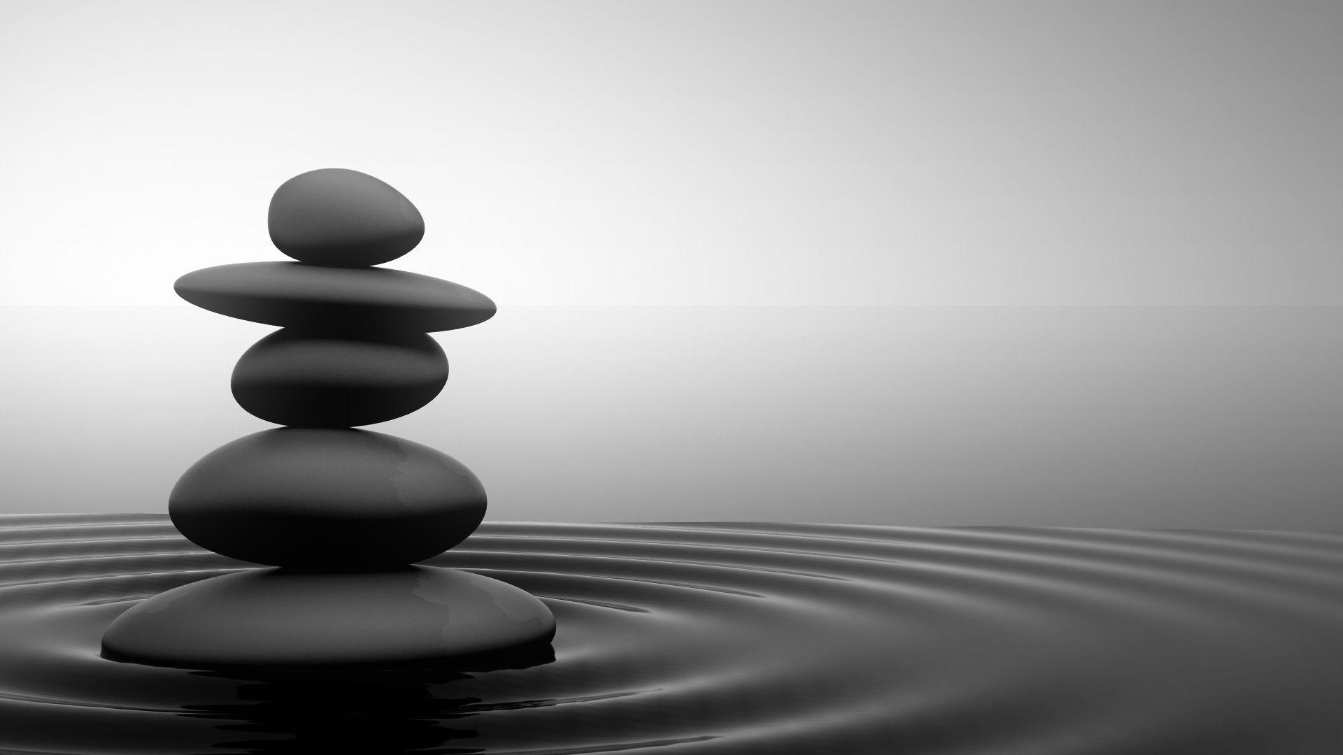 Black And White Zen Stone Water Grey Calm Serenity Zen