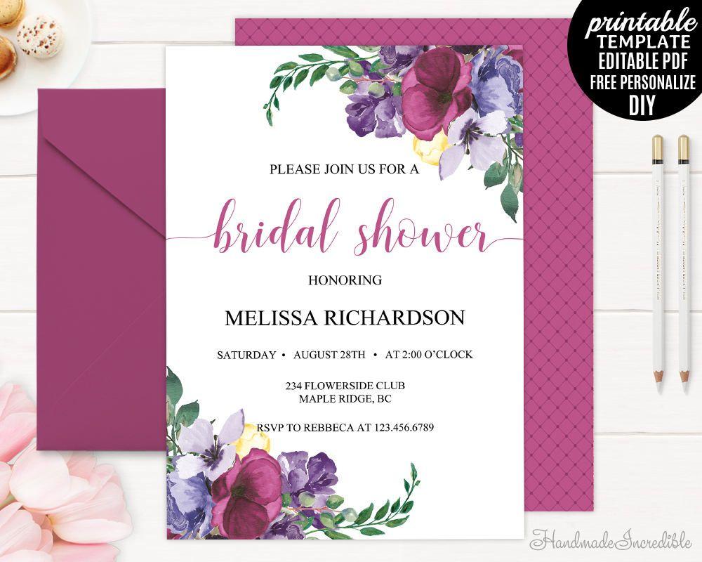 Purple Bridal Shower Invitation Template Printable Floral Bridal - Purple bridal shower invitations templates