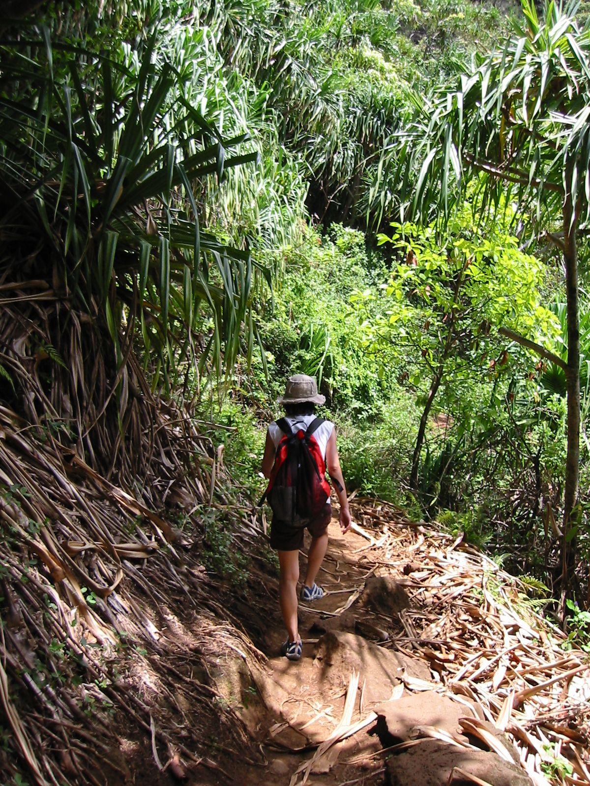 hiking. kalalau trail, kauai, HI.