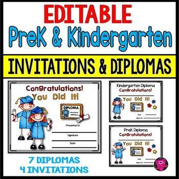 editable prek and kindergarten diplomas and invitations tpt