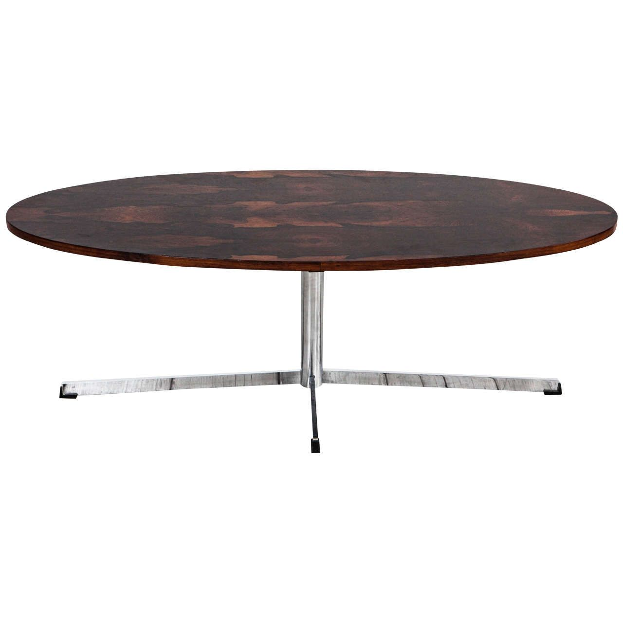 Mid Century Oval Coffee Table in the Style of Florence Knoll