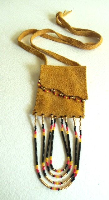 Leather Pouch Medicine Bag Black Bead by NativeCraftCanada on Etsy, $35.00