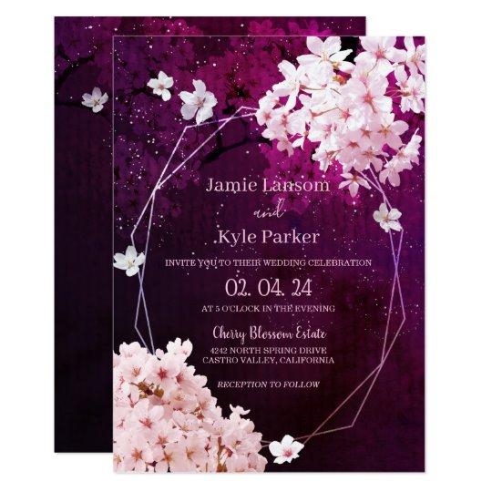 Cherry Blossom Geometric Floral Wedding Invitation Zazzle Com Floral Wedding Invitations Cherry Blossom Wedding Theme Cherry Blossom Wedding