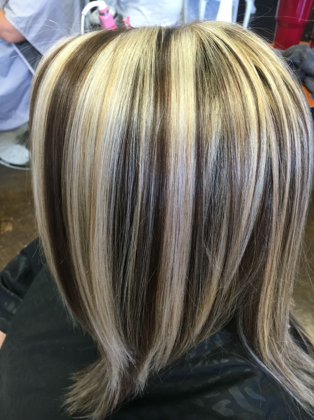 Heavy Platinum Blonde Highlights And A Golden Violet Base Blonde Highlights On Dark Hair Short Brown Hair With Blonde Highlights Blonde Highlights On Dark Hair