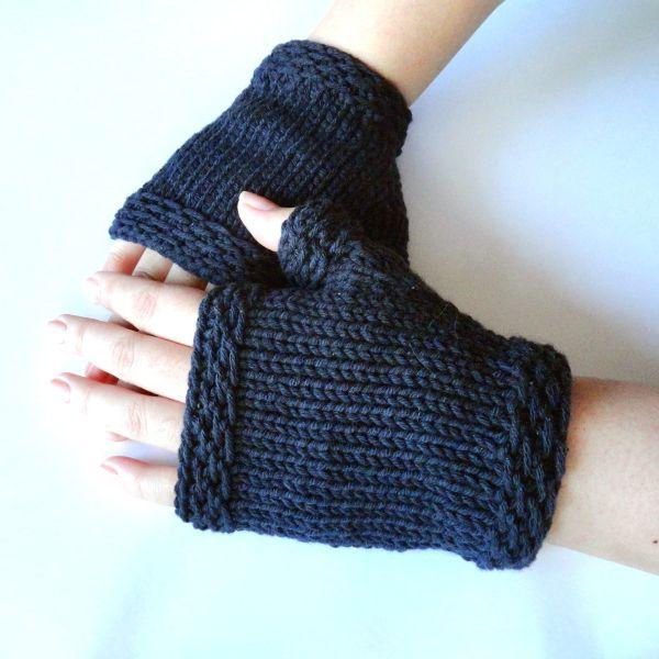 Free Knitting Pattern Fingerless Gloves Mitts Easy Knit