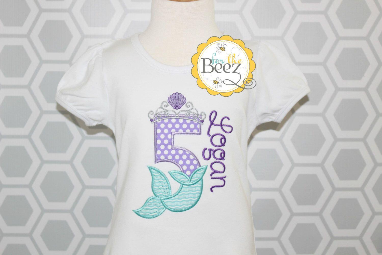 Mermaid Birthday Shirt Girls Little