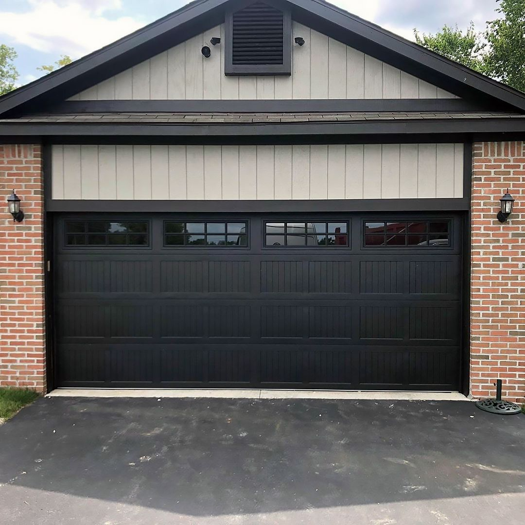 16x7 Model 5983 Stamped Carriage House Garage Door In Black With