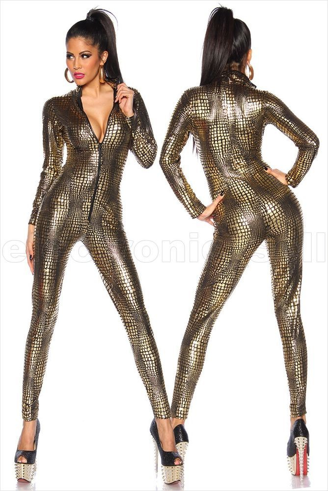 afde8be22f Cool Sexy Body Slim Snakeskin Catsuit Zipper Jumpsuit Body Stocking  Tightness  MeiWu  Catsuit