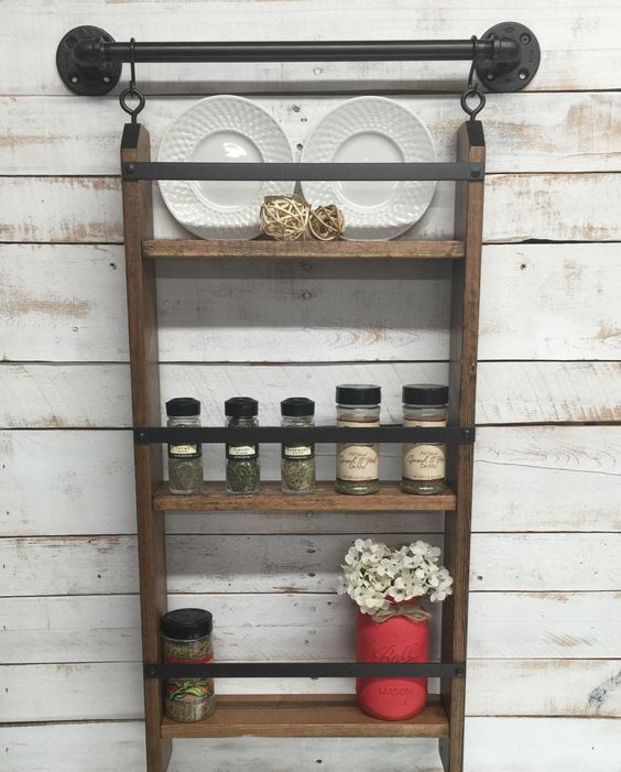 kitchen wall shelf that acts as a spice rack Shelterness