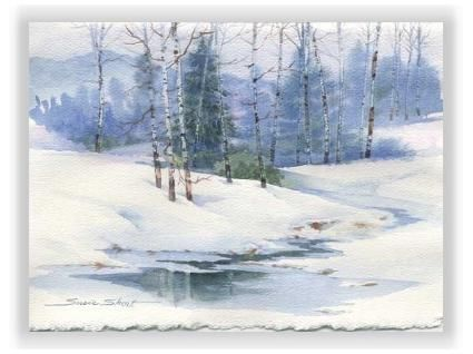 Winter Landscape Christmas Watercolor Greeting Card By Susie Short