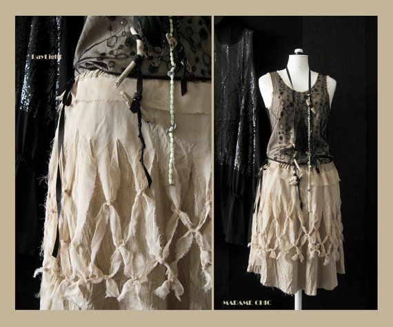 Gauze cloth skirt with knots