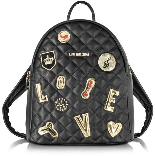 the best attitude c4b26 fcb07 Love Moschino Black Quilted Backpack ( 305) ❤ liked on Polyvore featuring  bags, backpacks
