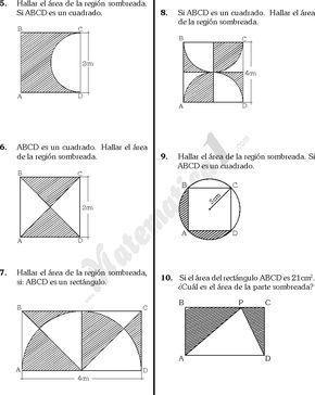 Matematica1 Com Perimetros Y Areas De Regiones Sombreadas