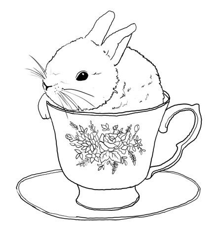 Embroidery transfer design. Bunny rabbit in tea cup