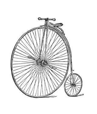 Penny farthing bicycle invented in 1872 by Eugene Meyer
