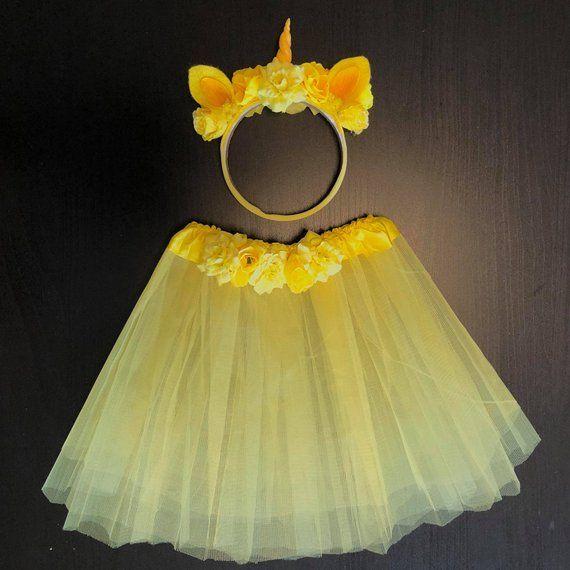 3c57b3f0ef275 Yellow Unicorn girl set of headband and skirt , kid unicorn crown ...