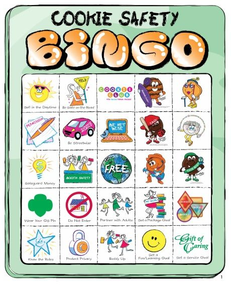 Girl Scout Cookie Safety Bingo | tune into safety with a game of ...