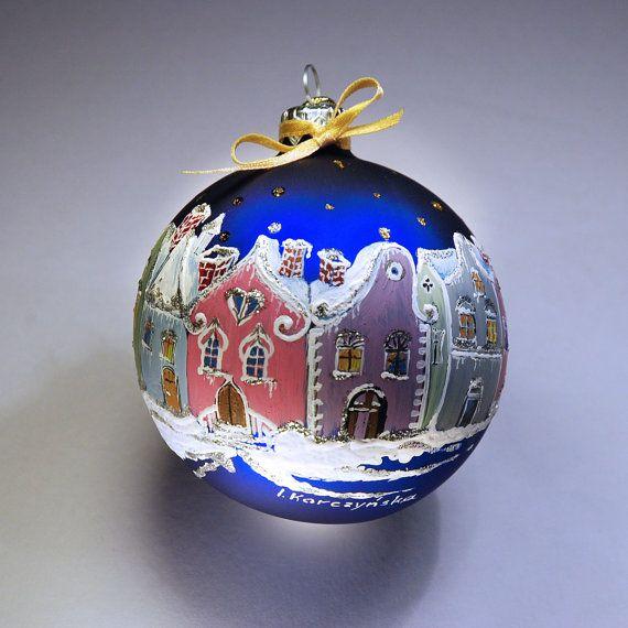 Hand Painted Glass Christmas Bauble Glass Christmas