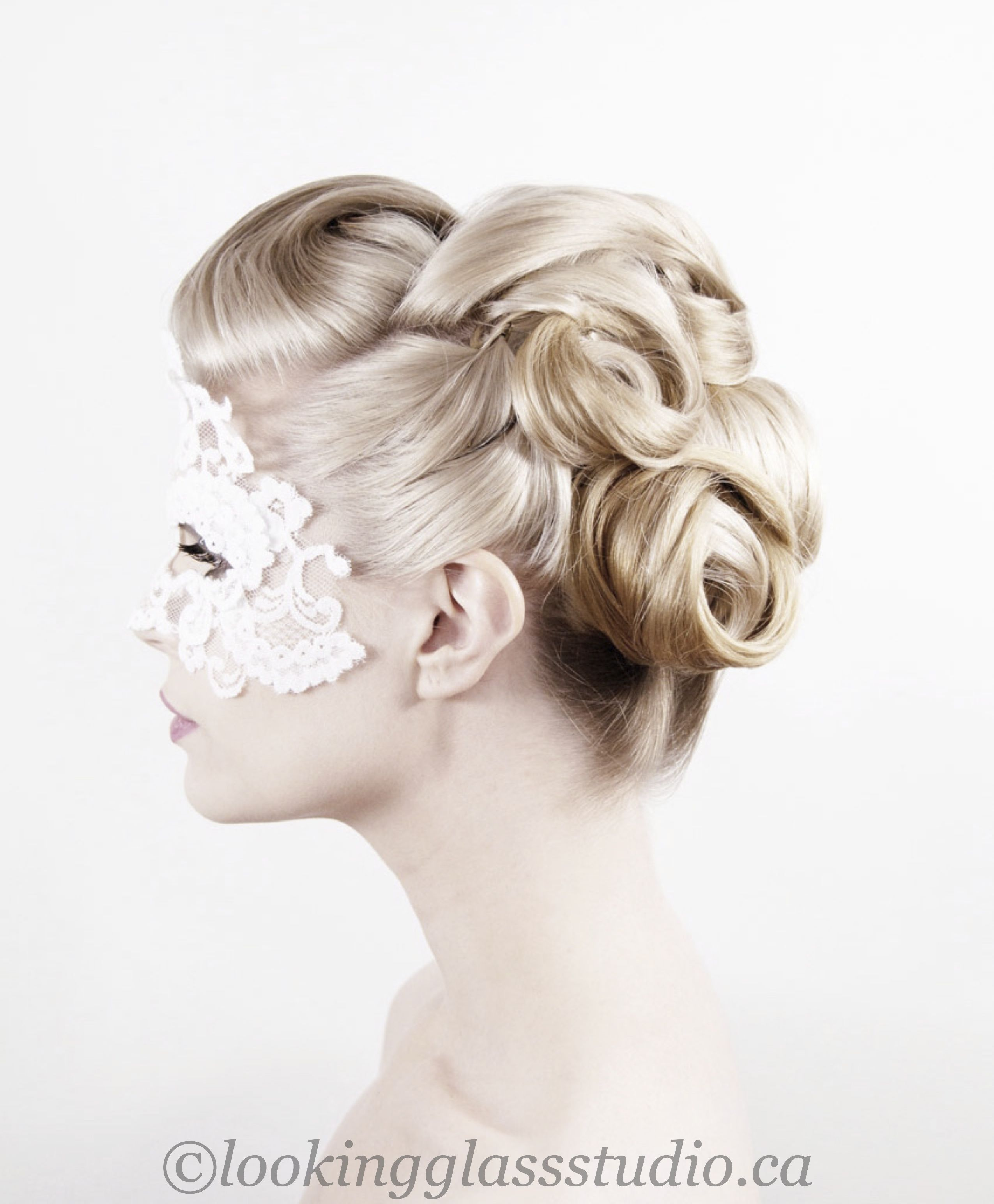 Wedding updo, bridal hair, pin curls www.lookingglassstudio.ca ...