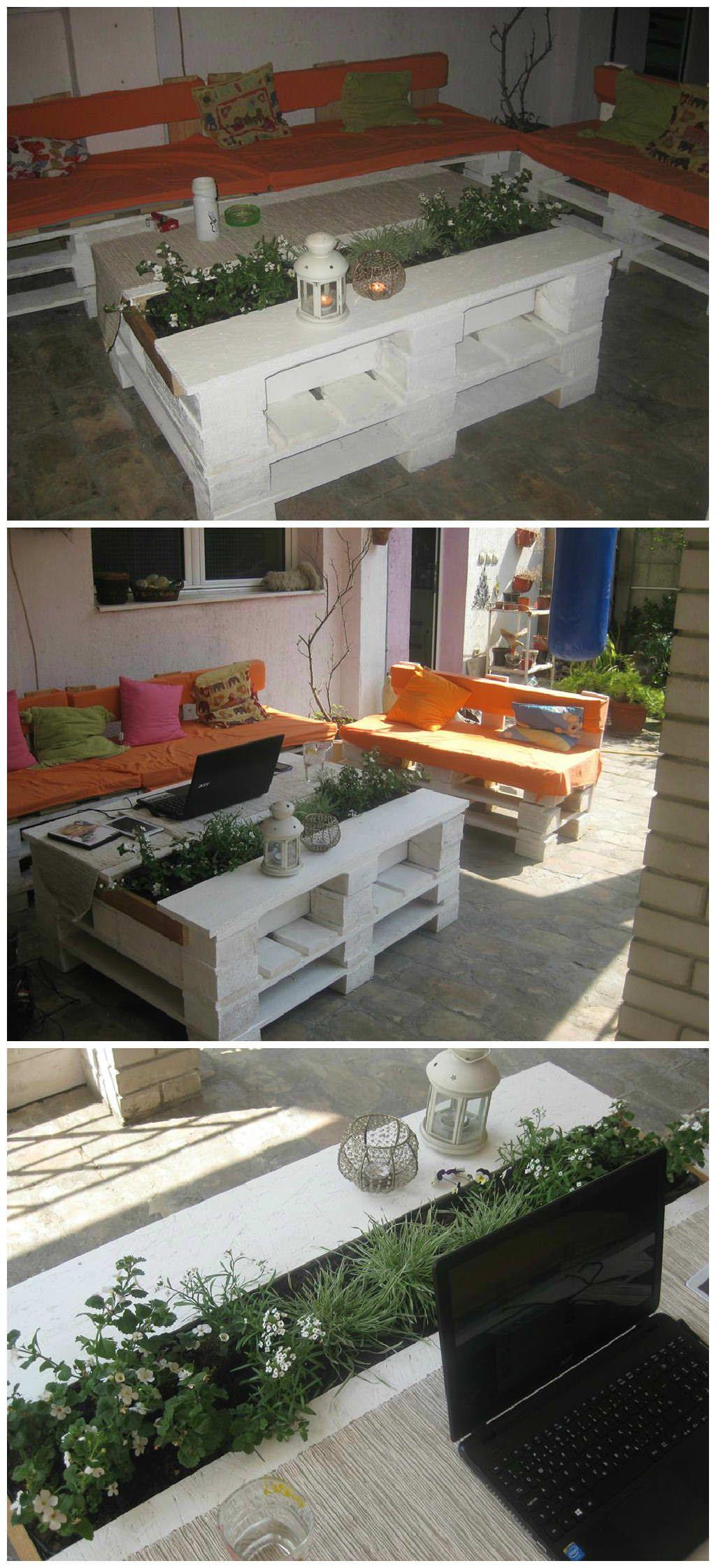 Sto Od Paleta Sa Cvećem Pallet Coffee Table With Planter