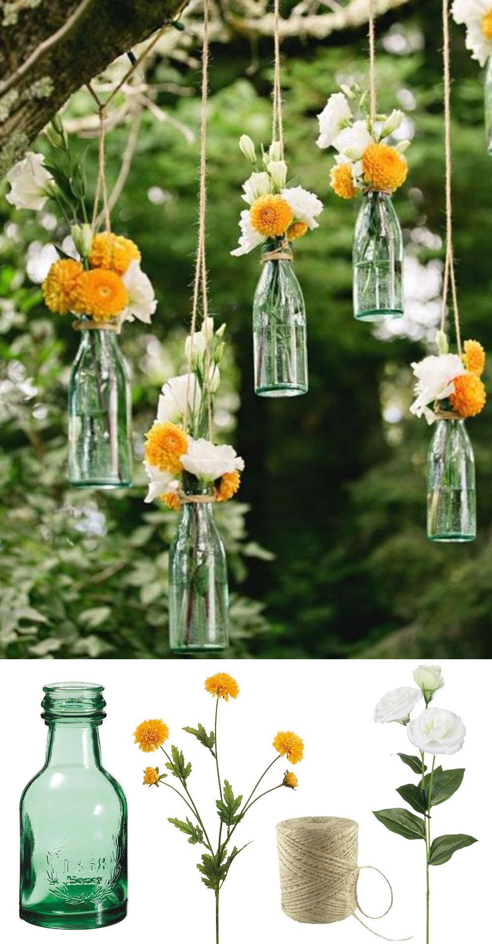 Easy and low cost wedding decorations make this beautiful hanging easy and low cost wedding decorations make this beautiful hanging bottle display with silk flowers for your backyard or outdoor wedding mightylinksfo