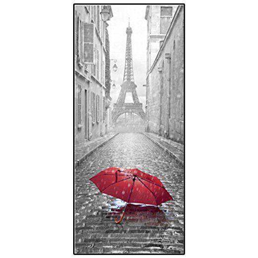 3D Sticker Porte LQZ(TM) Parapluie Tour Eiffel Trompe L\u0027Oeil PVC