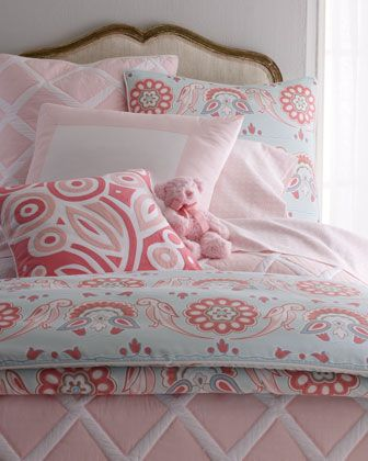 Beautiful girls bedding from Serena and Lily this color combo of