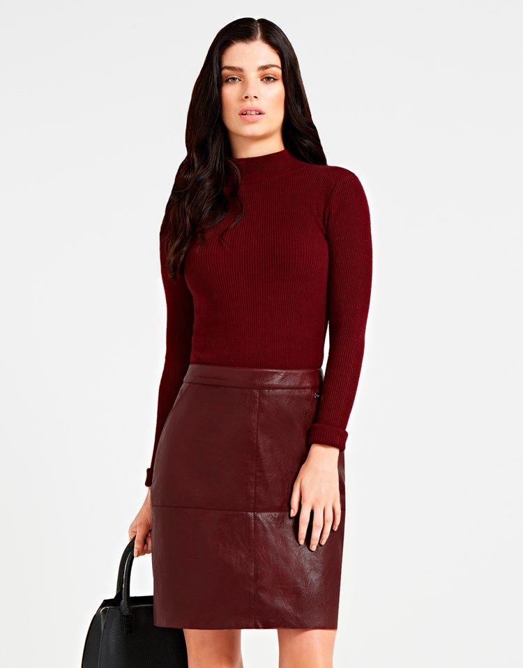fa62e9c22 Lipsy Faux Leather Skirt Jumper Dress   Fashion   Faux leather skirt ...