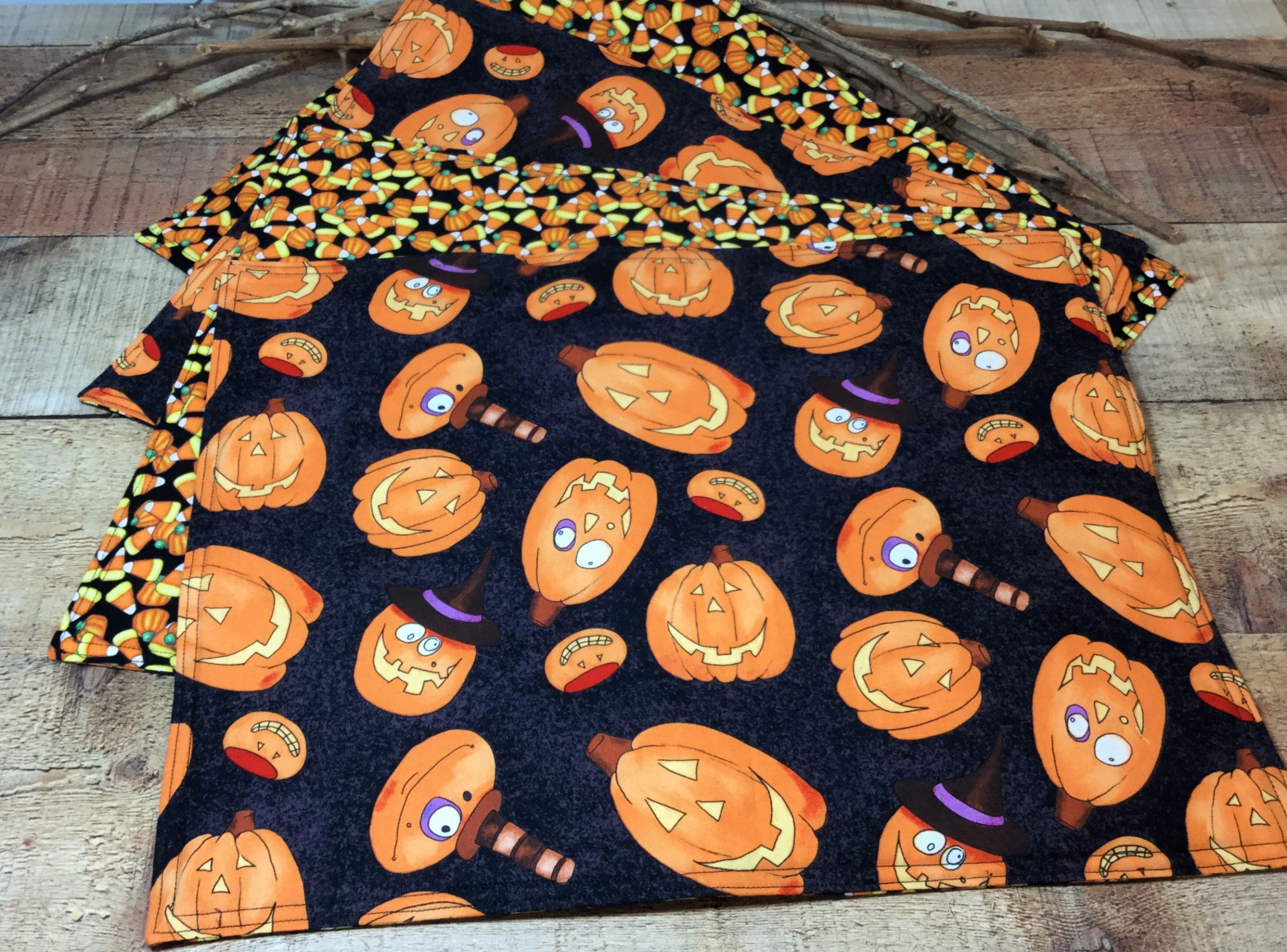 Nice Reversible Halloween Placemats   Pumpkin Placemats   Candy Corn   Cloth Table  Mats   Padded Place