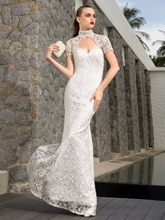 Sheath Column Sweetheart Charmeuse And Lace And Satin And Stretch Satin Floor-length Wedding Dresses With A Wrap | LightInTheBox