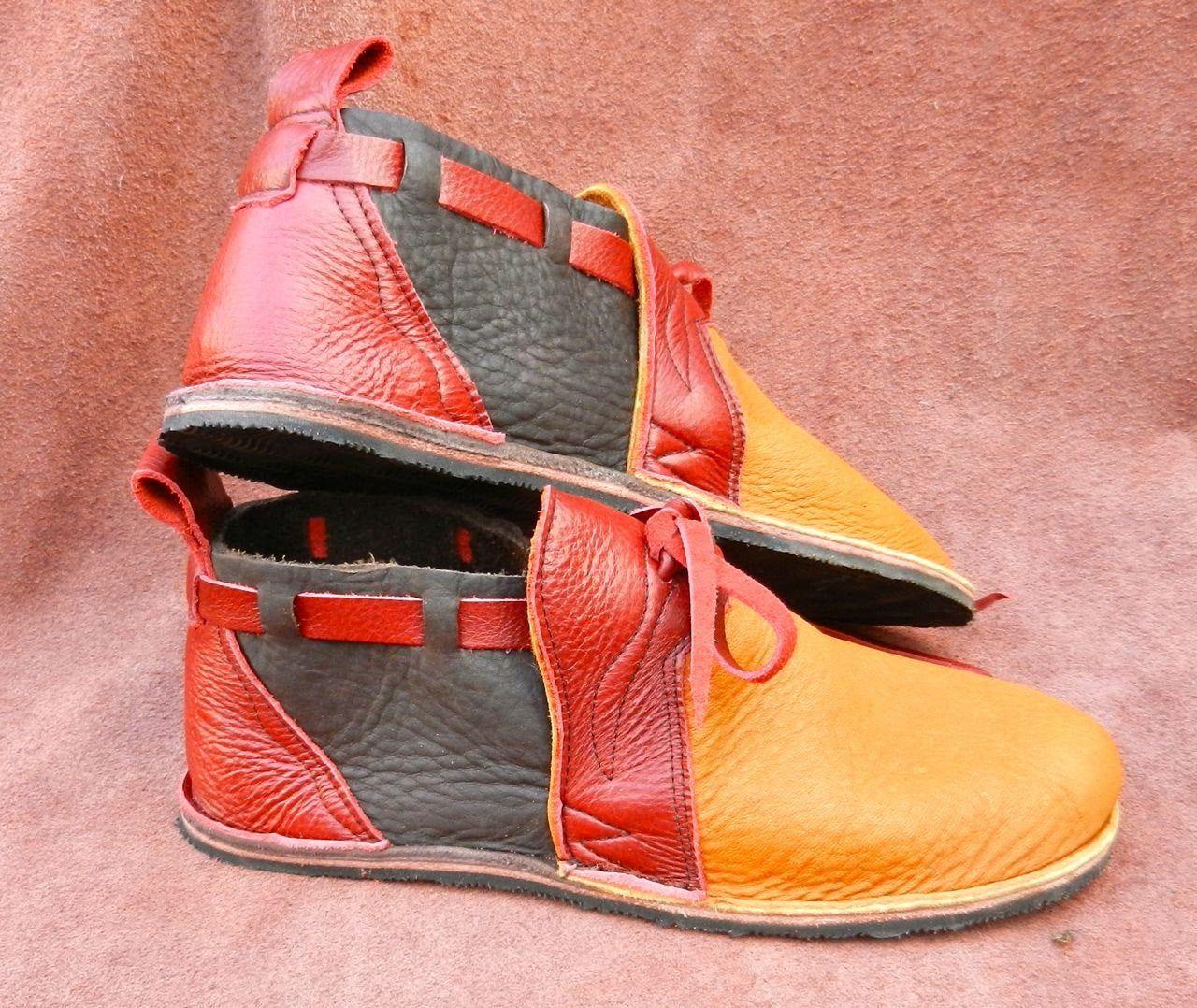 Custom Made or stock Size 5 Handmade Custom black Leather  Shoes-NO SHOES-Lightweight Vibram Sole Deer Skin Trim 9 8 6 10,11,12 7