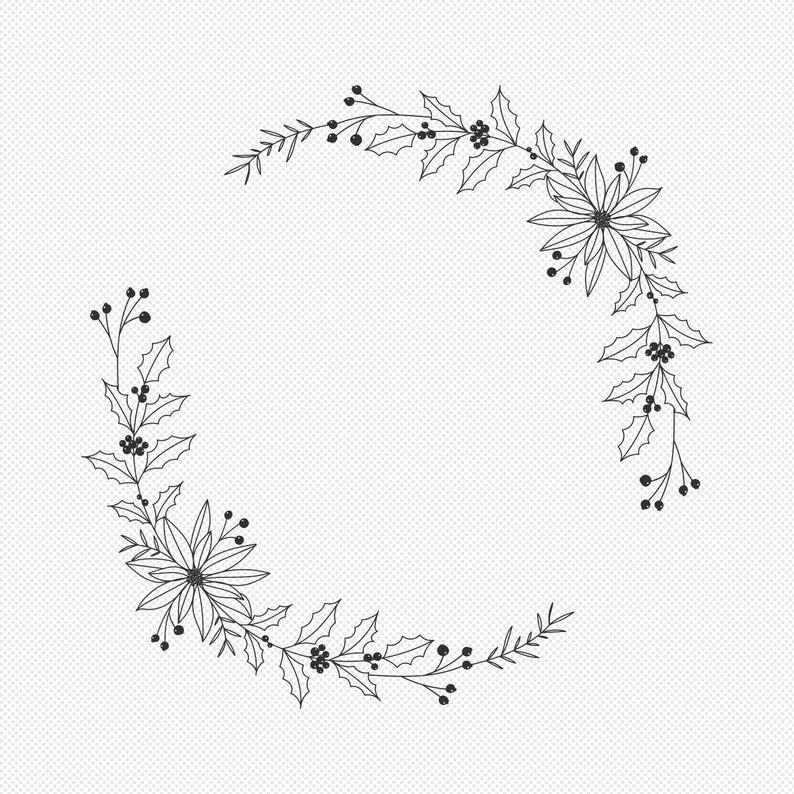 Christmas Floral Wreath SVG - Winter Botanical Lau