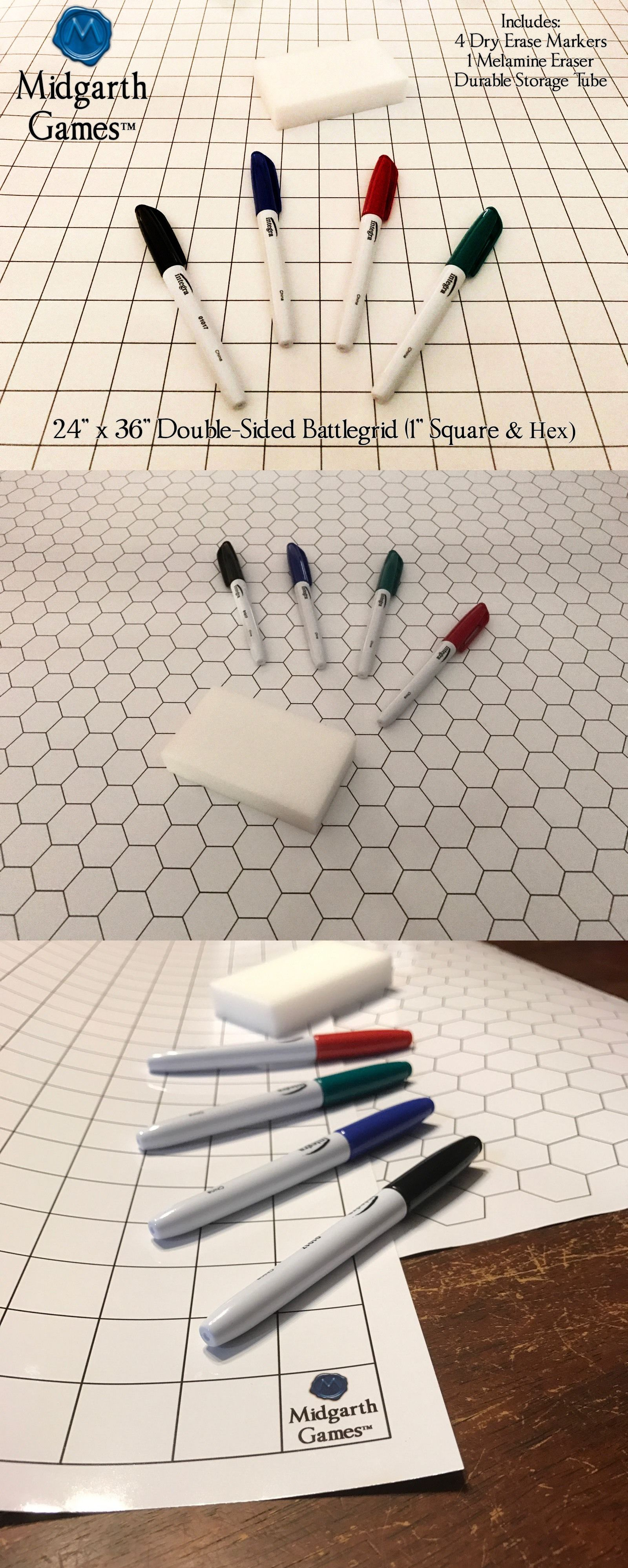 Accessories 2544 Double Sided Battlegridz Battle Mat Square Hex 1 Inch Dandd Warhammer Pathfinder Buy It Now Only 14 99 Dungeons And Dragons D D Hex Grid
