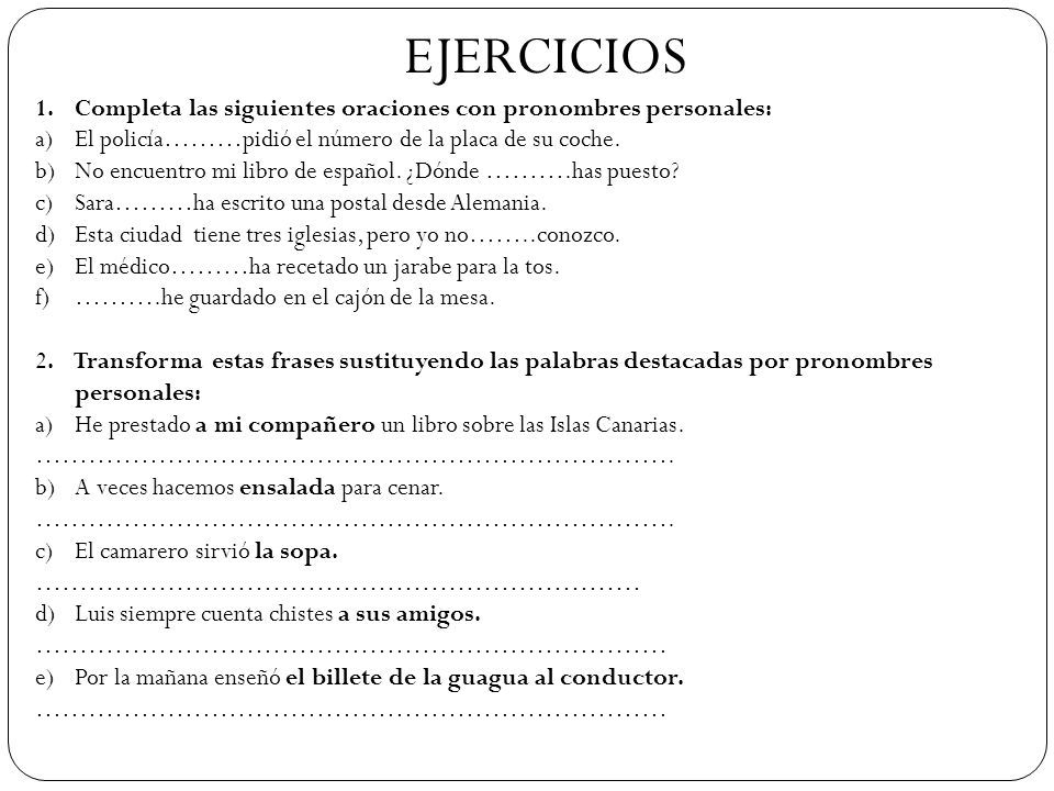 ejercicios de pronombres personales ejercicios de pronombres personales ejercicios. Black Bedroom Furniture Sets. Home Design Ideas