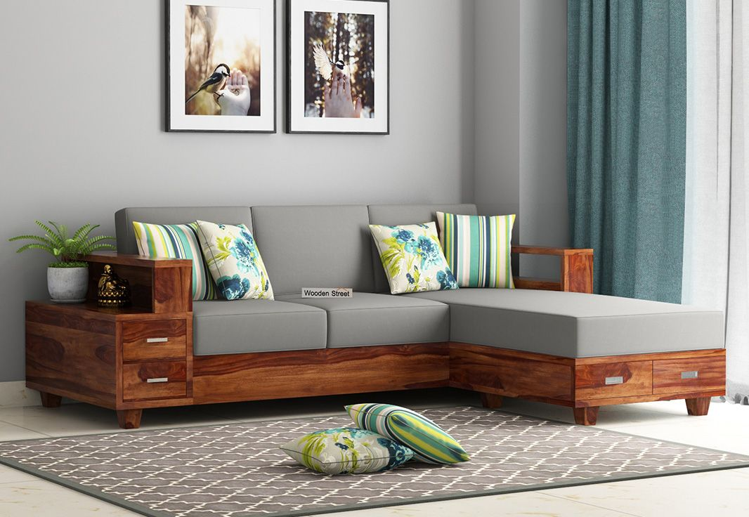 Buy Solace L Shaped Wooden Sofa Teak Finish Online In India
