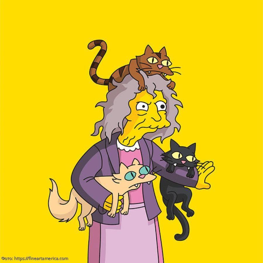 Картинка из симпсонов с кошками