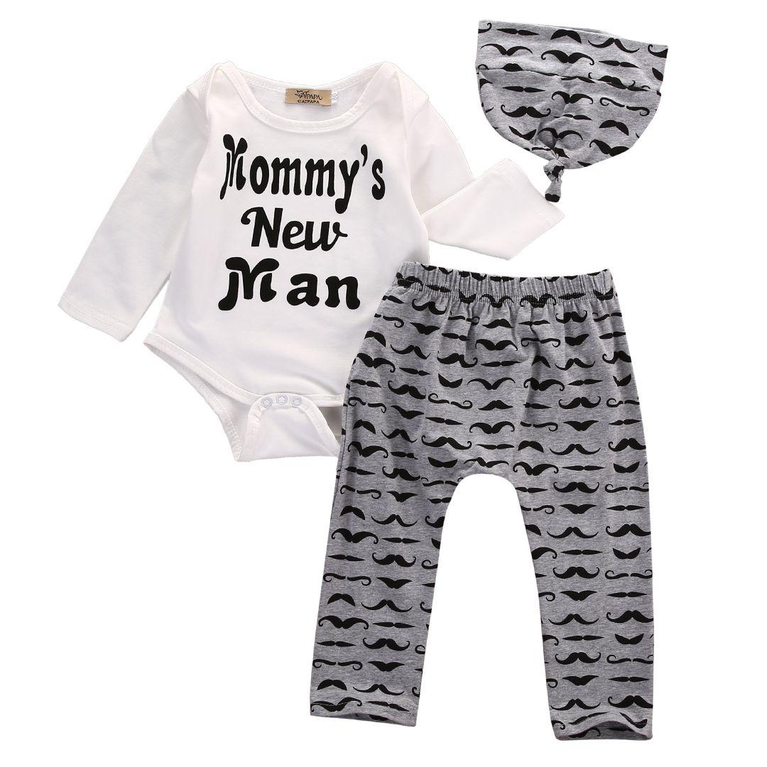 0 18 м новорожденного мальчика одежда мама новый человек ползунки гарем брюки Hat 3 шт Newborn Baby Boy Clothes Summer Baby Boys Tops Baby Boy Clothes Summer