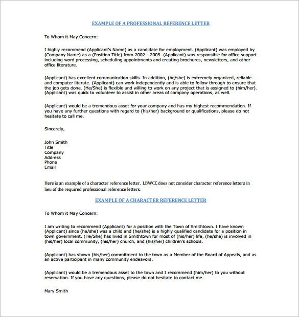 Character Reference Letter Sample Example Of Character Reference