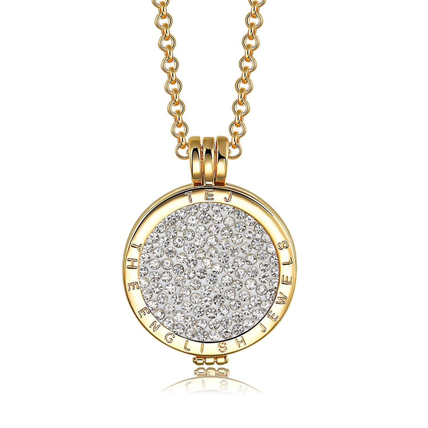 Interchangeable Coin Pendant Necklace Silver Plated including Belcher Chain '25-30 inch - White UYRVfVfi7G