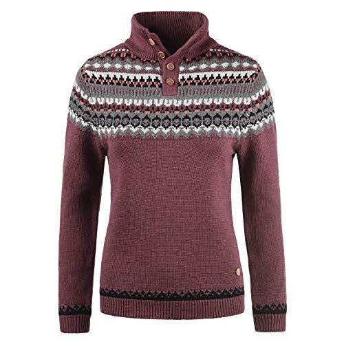 DESIRES Norma Damen Weihnachtspullover Norweger-Pullover Winter  Strickpullover Troyer Grobstrick Pullover mit Stehkragen, Größe XL, Fa… 32daa3ba4a