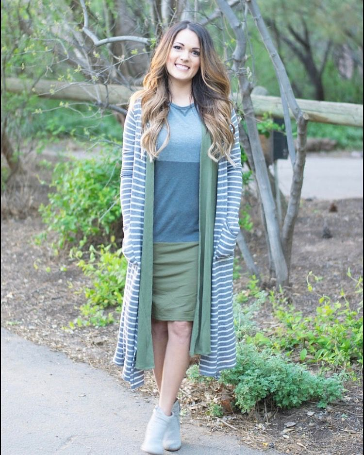 Layering LuLaRoe is my fave! A julia dress, with a joy vest, topped with a Sara Cardigan. Stylish without the bulk of layers.