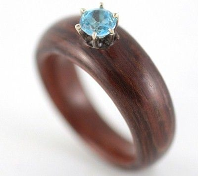 rosewood and blue topaz wooden engagement ring made with reuse wood - Topaz Wedding Ring