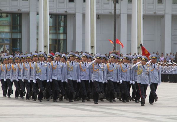 Mongolian Army Parade Staff officers and off...