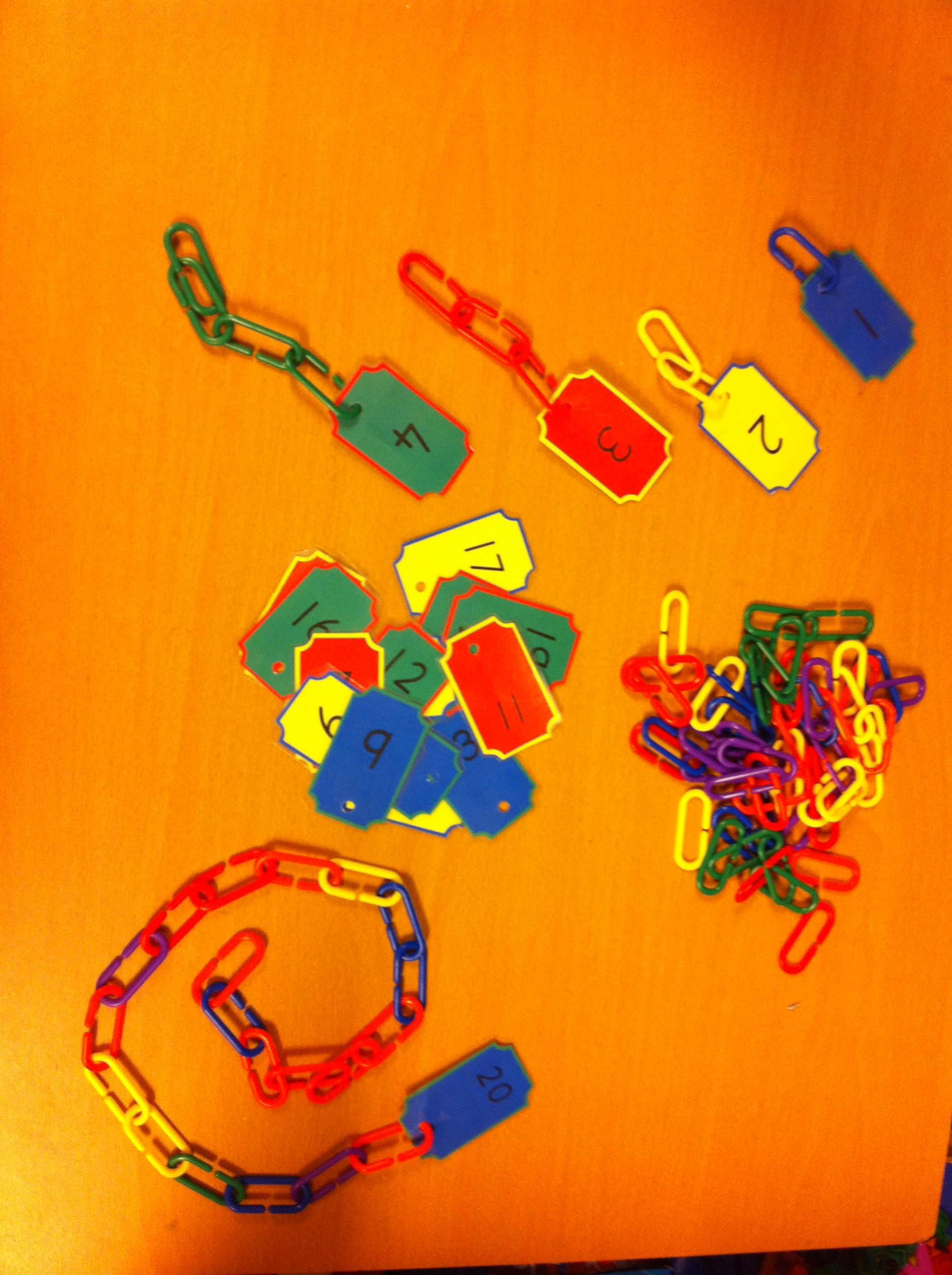 Number Cards And Linking Chains Maths And Fine Motor